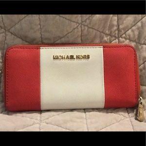 MK Red White Wallet